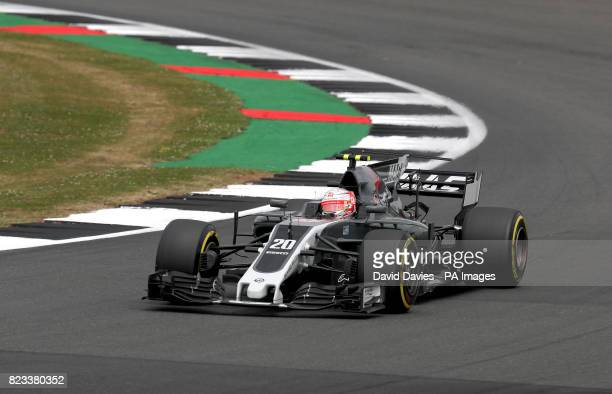 Haas Kevin Magnussen during second practice of the 2017 British Grand Prix at Silverstone Circuit Towcester