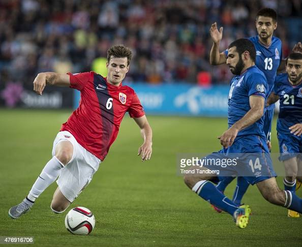 Haavard Nordtveit of Norway Rashad Sadygov Dmitri Nazarov Arif Dashdemirov of Azerbaijan during the EURO 2016 Qualifier between Norway and Azerbaijan...