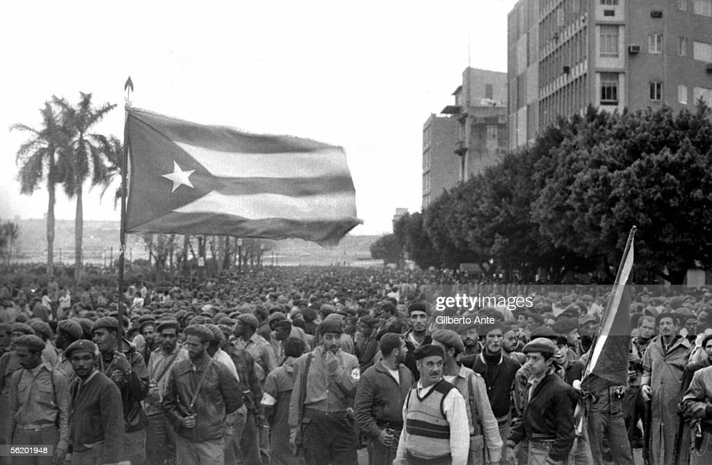 Habana (Cuba). Demonstration in front of the ex-presidential palace, 1959.