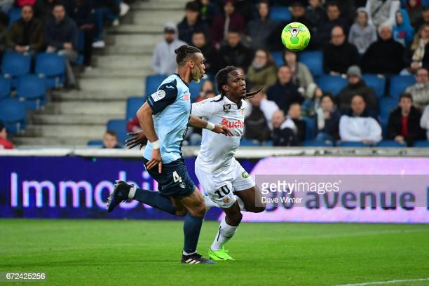 Habib Habibou of Lens and Harold Moukoudi of Le Havre during the Ligue 2 match between Le Havre AC and Racing Club de Lens on April 24 2017 in Le...