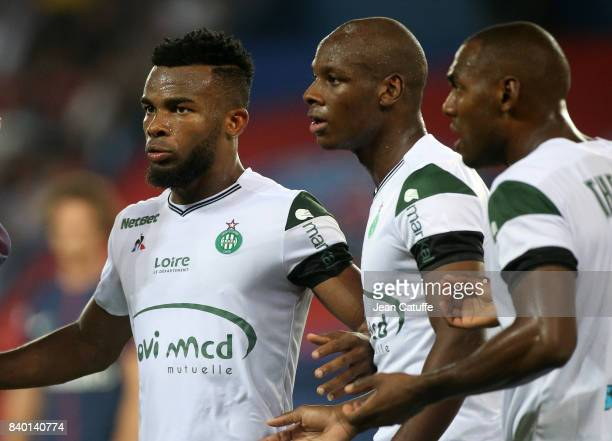 Habib Maiga Bryan Dabo Kevin TheophileCatherine of SaintEtienne during the French Ligue 1 match between Paris Saint Germain and AS SaintEtienne at...