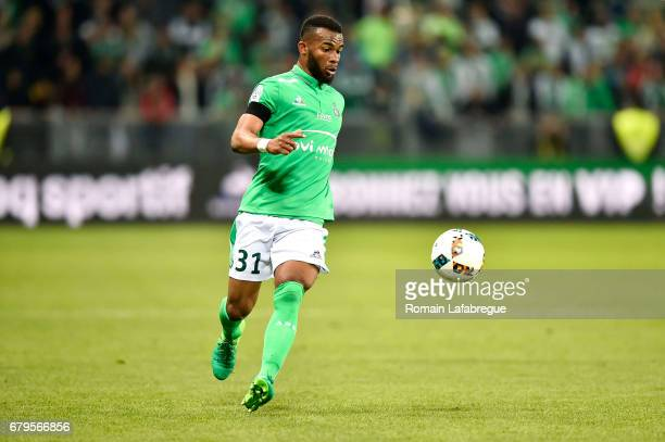 Habib Maiga of Saint Etienne during the Ligue 1 match between As Saint Etienne and Girondins de Bordeaux at Stade GeoffroyGuichard on May 5 2017 in...
