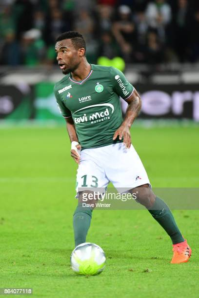 Habib Maiga of St Etienne during the Ligue 1 match between AS SaintEtienne and Montpellier Herault SC at Stade GeoffroyGuichard on October 20 2017 in...