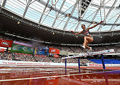 Habiba Ghribi of Tunisia in action during the Womens 3000m Steeplechase on day two of the Muller Anniversary Games at The Stadium Queen Elizabeth...