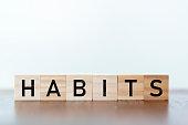 Habits written on wooden cubes