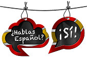 Two speech bubbles with Spanish flag and text Hablas Espanol? Si! Hanging from a steel cable and isolated on white