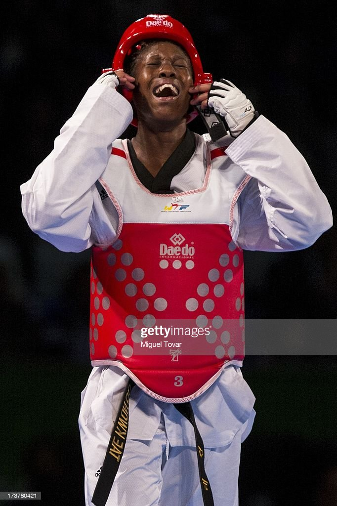 Haby Niare of France celebrates after winning the gold medal during a Wome's -67 kg combat against Chia Chia Chuang of Chinese Taipei of WTF World Taekwondo Championships 2013 at the exhibitions Center on July 17, 2013 in Puebla, Mexico.