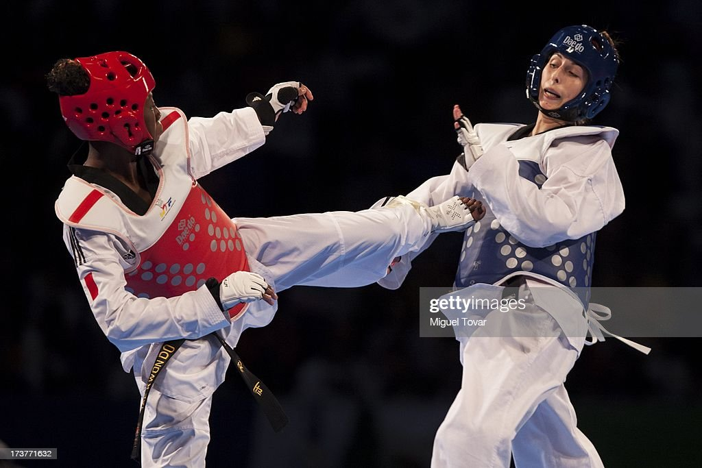 Haby Niare of France (red) competes against Alexis Arnoldt of Argentina (blue) during a Women's -67 kg combat of WTF World Taekwondo Championships 2013 at the exhibitions Center on July 17, 2013 in Puebla, Mexico.