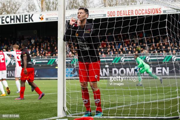 Hachim Faik of Excelsior goalkeeper Andre Onana of Ajaxduring the Dutch Eredivisie match between sbv Excelsior Rotterdam and Ajax Amsterdam at...