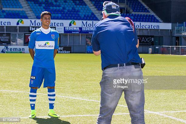 Hachim Mastour getting his portrait taken by a photographer during the team presentation of Pec Zwolle on July 18 2016 at the IJsseldelta stadium in...