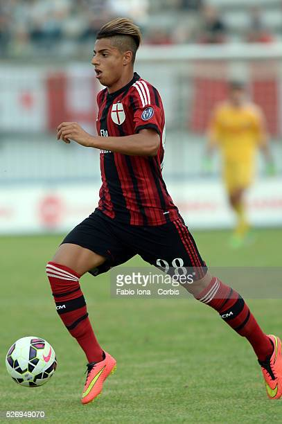 Hachim Mastour of AC Milan in action during the friendly match between AC Milan and AC Monza at Brianteo Stadium on July 20 in Monza Italy
