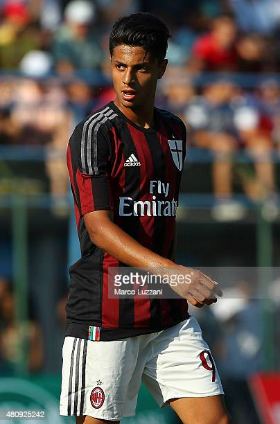 Hachim Mastour of AC Milan looks on during the preseason friendly match between AC Milan and Legnano on July 14 2015 in Solbiate Arno Italy