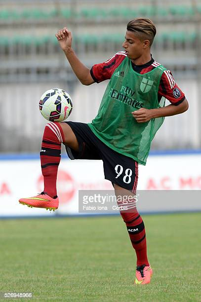 Hachim Mastour of AC Milan prior to the friendly match between AC Milan and AC Monza at Brianteo Stadium on July 20 in Monza Italy