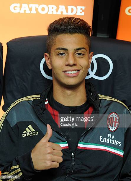 Hachim Mastour of AC Milan prior to the Serie A match between AC Milan and US Sassuolo Calcio at San Siro Stadium on May 18 2014 in Milan Italy