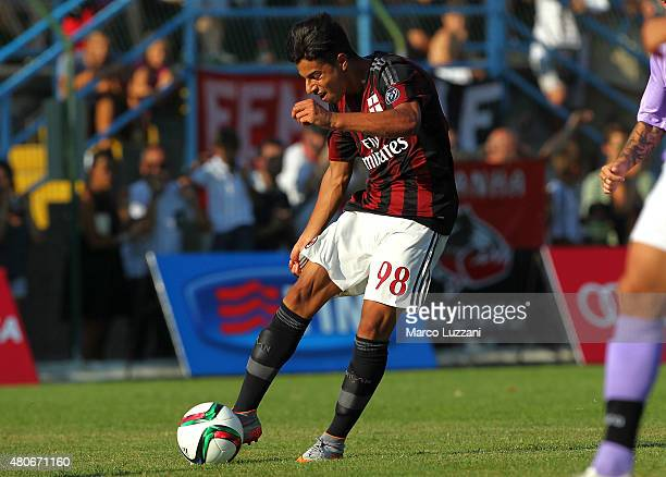 Hachim Mastour of AC Milan scores his goal during the preseason friendly match between AC Milan and Legnano on July 14 2015 in Solbiate Arno Italy