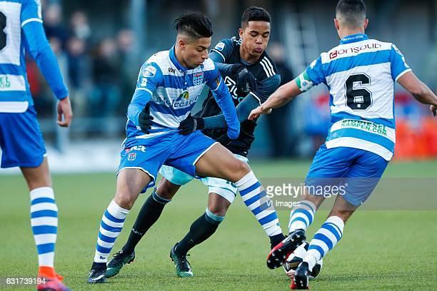 Hachim Mastour of PEC Zwolle Justin Kluivert of Ajax Mustafa Saymak of PEC Zwolleduring the Dutch Eredivisie match between PEC Zwolle and Ajax...