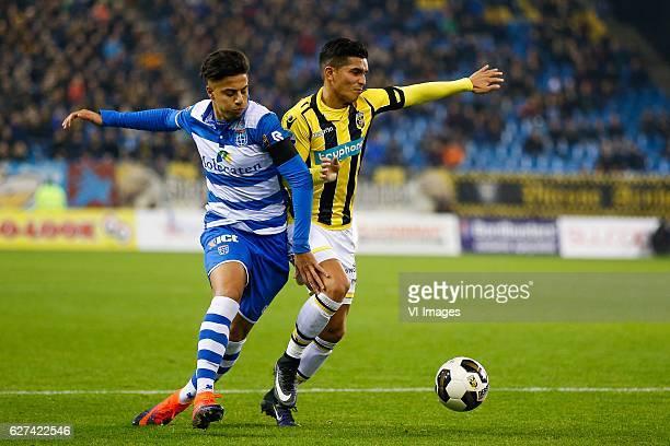 Hachim Mastour of PEC Zwolle Navarone Foor of Vitesseduring the Dutch Eredivisie match between Vitesse Arnhem and PEC Zwolle at Gelredome on December...