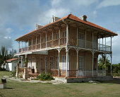 historic wooden hacienda building seen in Guadeloupe