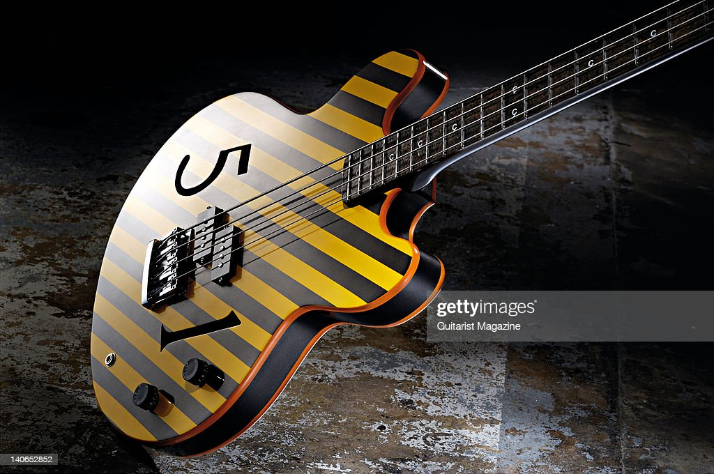 A Hacienda Peter Hook Limited Edition bass guitar during a studio shoot for Guitarist Magazine June 28 2010
