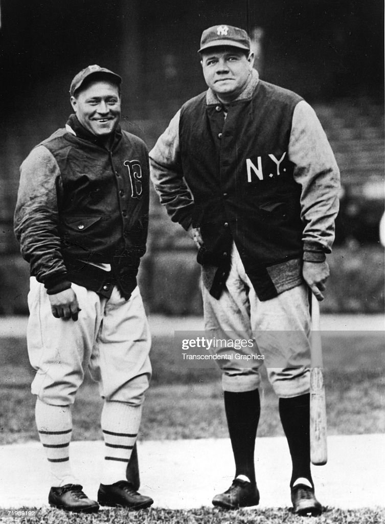BROOKLYN - APRIL, 1932. Hack Wilson, left, outfielder for the Brooklyn Dodgers, poses with <a gi-track='captionPersonalityLinkClicked' href=/galleries/search?phrase=Babe+Ruth&family=editorial&specificpeople=94423 ng-click='$event.stopPropagation()'>Babe Ruth</a> of the New York Yankees in Ebbets Field before a pre season tune up game in Brooklyn in early April, 1932.