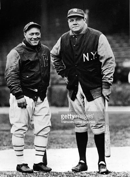 BROOKLYN APRIL 1932 Hack Wilson left outfielder for the Brooklyn Dodgers poses with Babe Ruth of the New York Yankees in Ebbets Field before a pre...