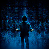 3D illustration of shady hooded figure offering his services in binary data environment. Image including figure totally computer generated.