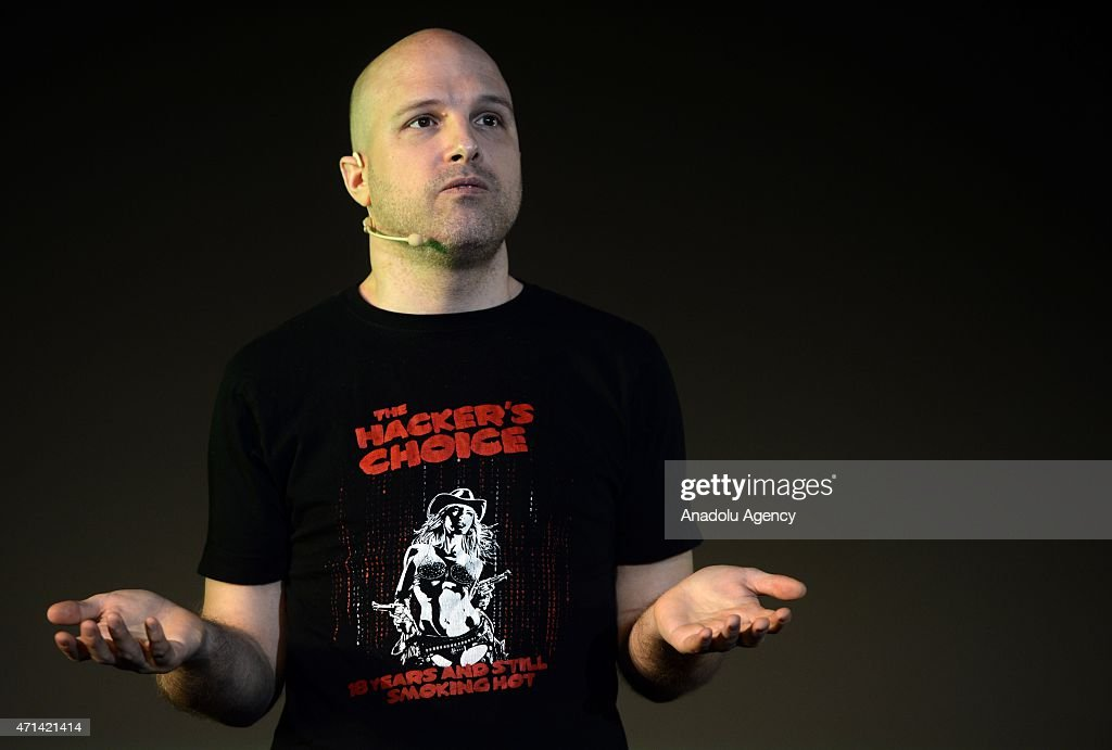 Hacker Mark Heuse makes a speech during the Mundo Hacker Day 2015 in Madrid, Spain on April 28, 2015.