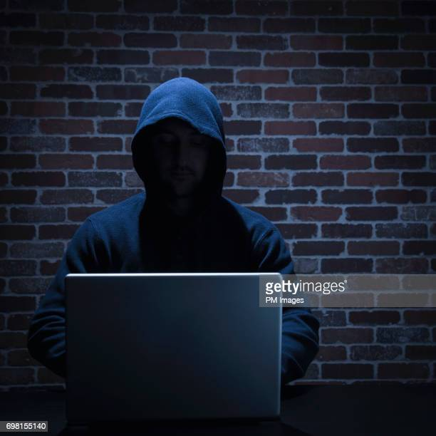 Hacker using lap top computer