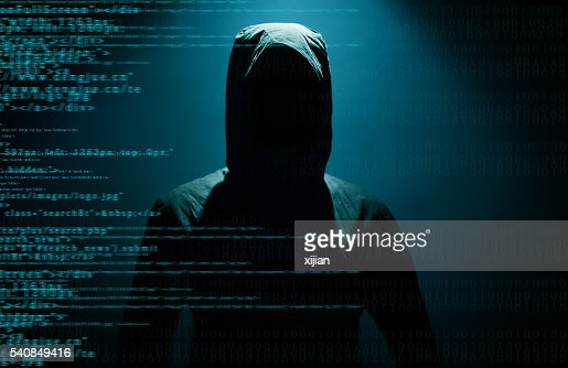 Hacker with internet : Stock Photo