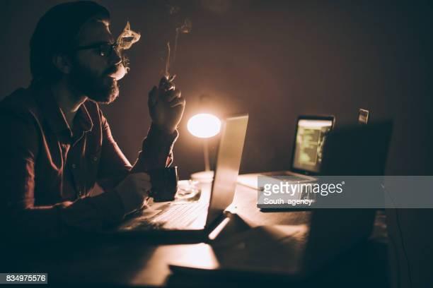 Hacker working all night