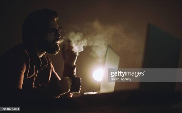 Hacker working late