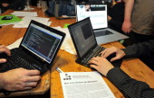 Hackers from the French Degenerescience association visit the antisecrecy website WikiLeaks in a coffeehouse in Lille northern France on December 9...