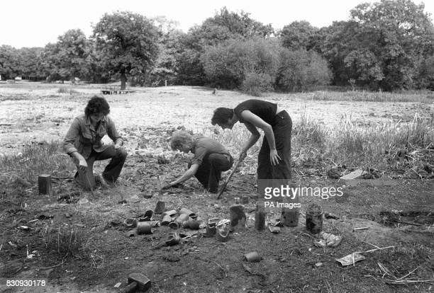 Peter Foreman and Alan Nyman enjoy a new hobby due to the current drought at the driedup Epping Forest Rising Sun Pond Woodford New Road Walthamstow...