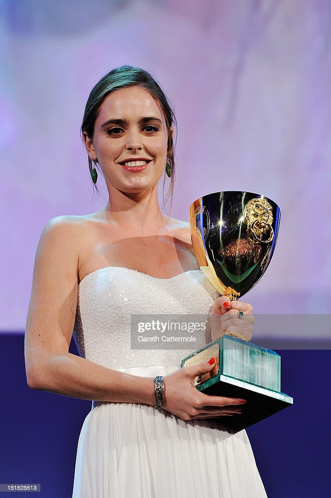 Hadas Yaron wins the Coppa Volpi award for best actress during the Award Ceremony at the 69th Venice Film Festival at the Palazzo del Cinema on September 8, 2012 in Venice, Italy.