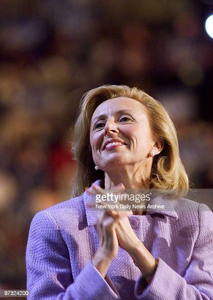 Hadassah Lieberman cheers husband Joseph as he accepts the nomination for vice president during the Democratic National Convention at the Staples...