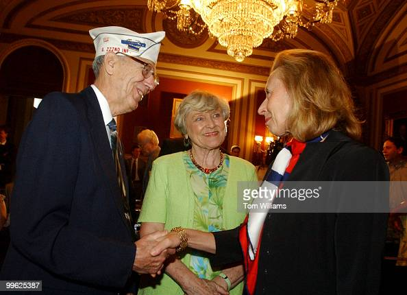 Hadassah Lieberman greets WWII vet John Walker and his wife Grace at an event honoring the men of the 42nd Infantry Divsion known as the 'Rainbow...