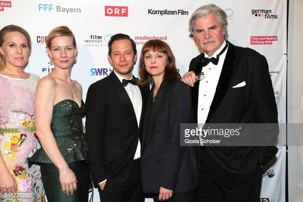 Hadewych Minis Sandra Hueller Trystan Puetter director Maren Ade and Peter Simonischek during the German Oscars viewing party of the film 'Toni...