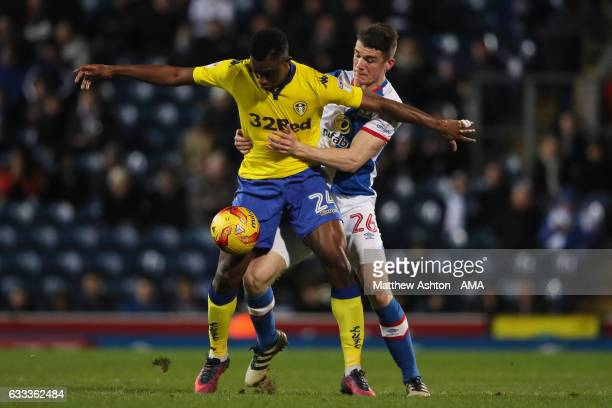 Hadi Sacko of Leeds United and Darragh Lenihan of Blackburn Rovers during the Sky Bet Championship match between Blackburn Rovers and Leeds United at...