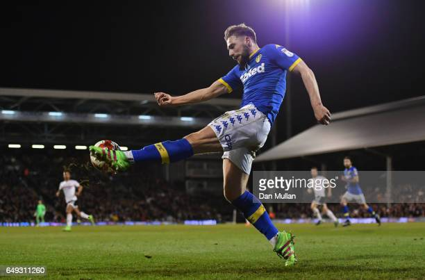 Hadi Sacko of Leeds United clears the ball during the Sky Bet Championship match between Fulham and Leeds United at Craven Cottage on March 7 2017 in...