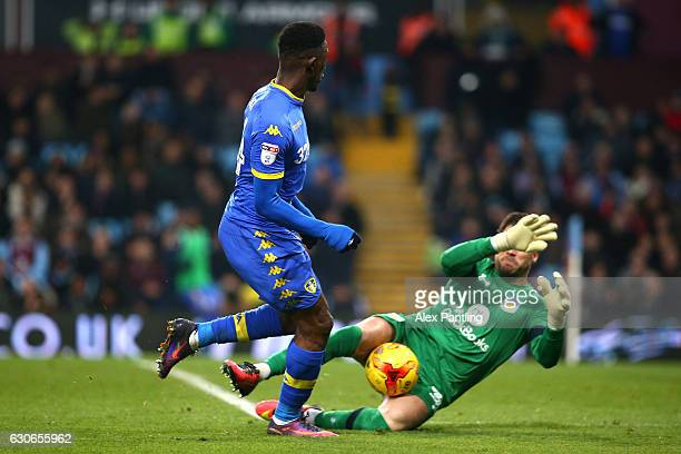 Hadi Sacko of Leeds United has his shot saved by Mark Bunn of Aston Villa during the Sky Bet Championship match between Aston Villa and Leeds United...