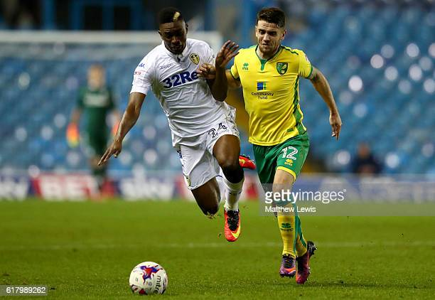 Hadi Sacko of Leeds United is fouled by Robbie Brady of Norwich City during the EFL Cup fourth round match between Leeds United and Norwich City at...
