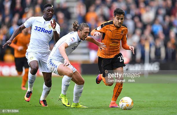 Hadi Sacko of Leeds United Luke Ayling of Leeds United and Joao Teixeira of Wolverhampton Wanderers during the Sky Bet Championship match between...