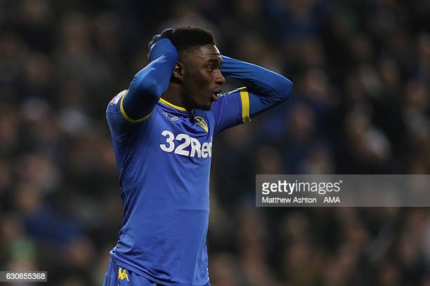 Hadi Sacko of Leeds United reacts after failing to score a goal in the closing stages of the game during the Sky Bet Championship match between Aston...