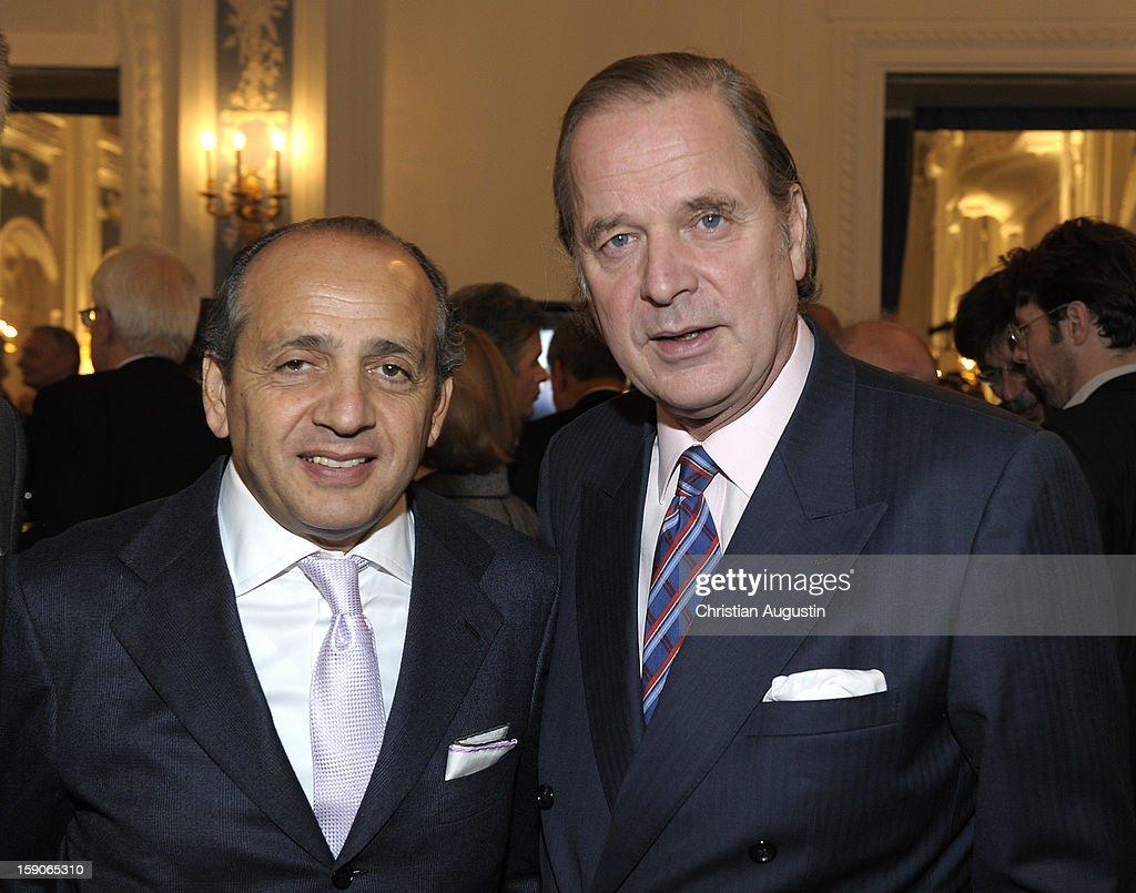 Hadi Therani (l) and Enno von Ruffin attend New Years`s reception of Hamburger Abendblatt at Hotel Atlantic on January 7, 2013 in Hamburg, Germany.