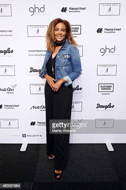 Hadiya Hohmann arrives for the Thomas Rath show during Platform Fashion July 2015 at Areal Boehler on July 26 2015 in Duesseldorf Germany