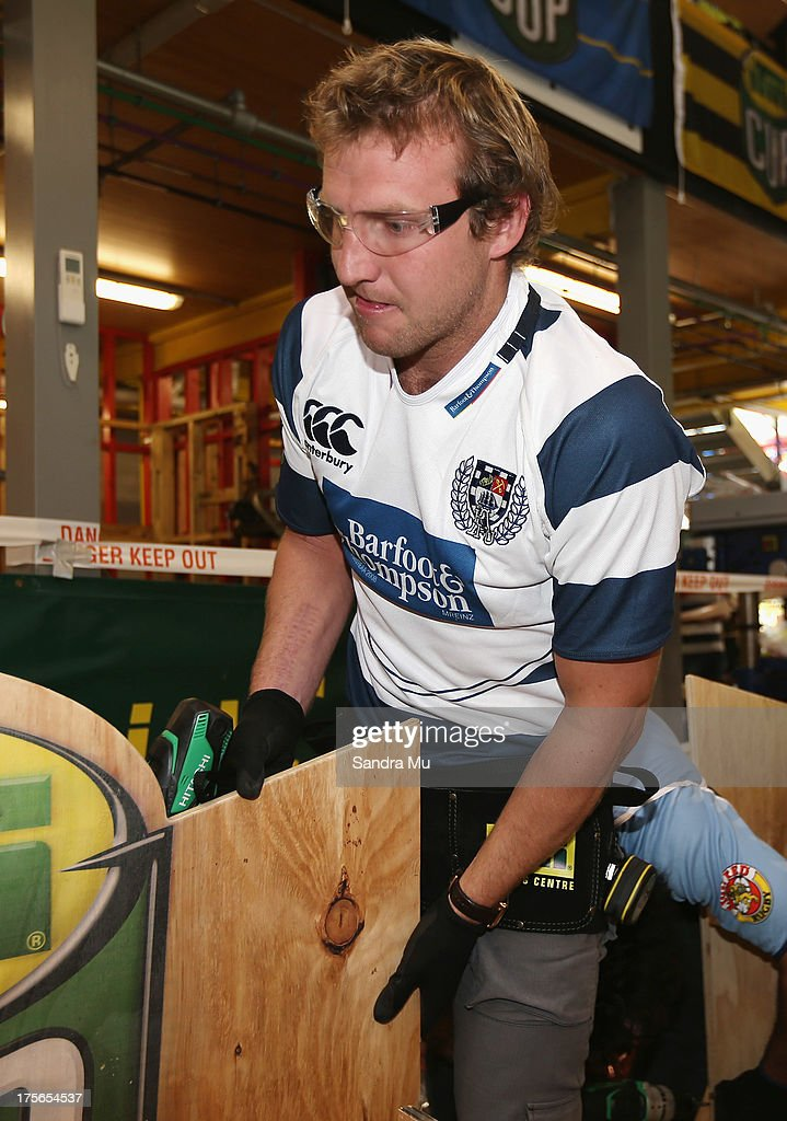 Hadleigh Parkes of Auckland builds a fan seat during the 2013 launch of the ITM Cup at Unitec on August 6, 2013 in Auckland, New Zealand.