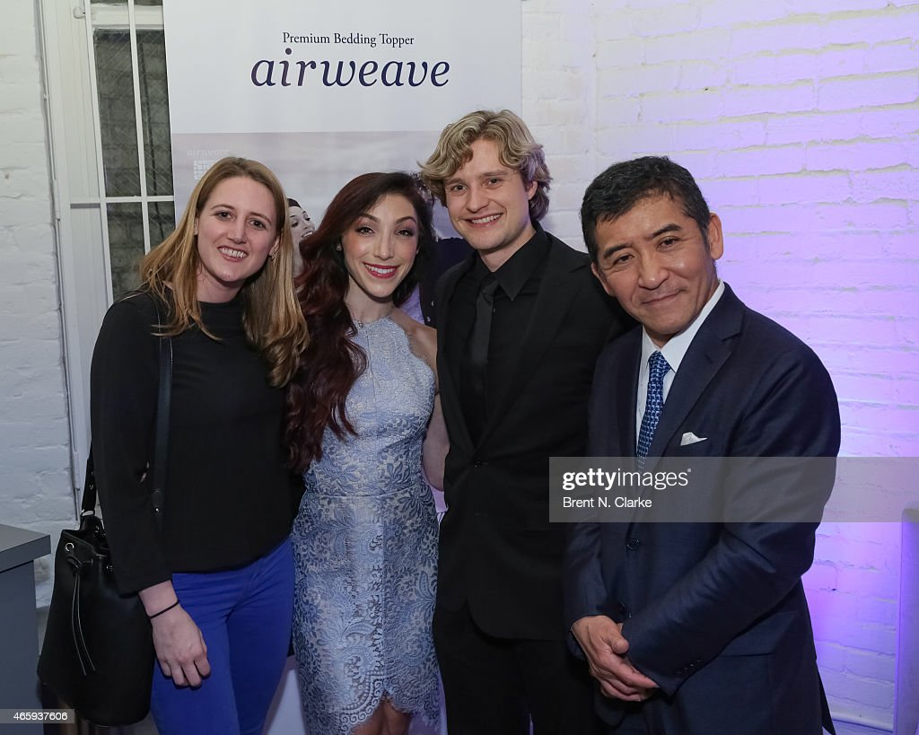 Hadley Keller, 2014 Olympic Gold Medal Ice Dancing champions <a gi-track='captionPersonalityLinkClicked' href=/galleries/search?phrase=Meryl+Davis&family=editorial&specificpeople=3995758 ng-click='$event.stopPropagation()'>Meryl Davis</a> and <a gi-track='captionPersonalityLinkClicked' href=/galleries/search?phrase=Charlie+White+-+Figure+Skater&family=editorial&specificpeople=6691356 ng-click='$event.stopPropagation()'>Charlie White</a> and Airweave President and CEO <a gi-track='captionPersonalityLinkClicked' href=/galleries/search?phrase=Motokuni+Takaoka&family=editorial&specificpeople=14098125 ng-click='$event.stopPropagation()'>Motokuni Takaoka</a> attend the Airweave Soho Store Opening at Airweave on March 11, 2015 in New York City.