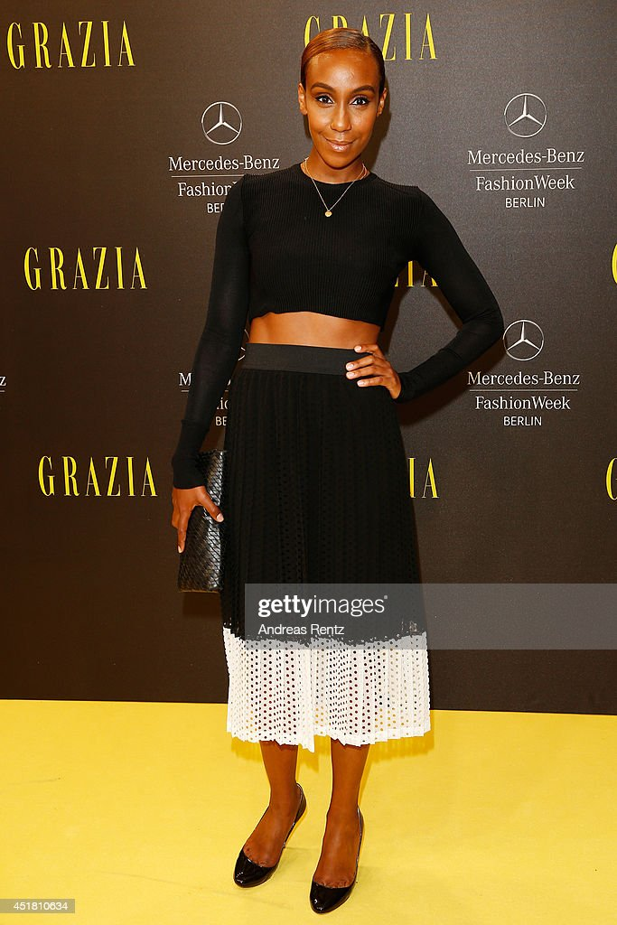 Hadnet Tesfai arrives for the Opening Night by Grazia fashion show during the Mercedes-Benz Fashion Week Spring/Summer 2015 at Erika Hess Eisstadion on July 7, 2014 in Berlin, Germany.