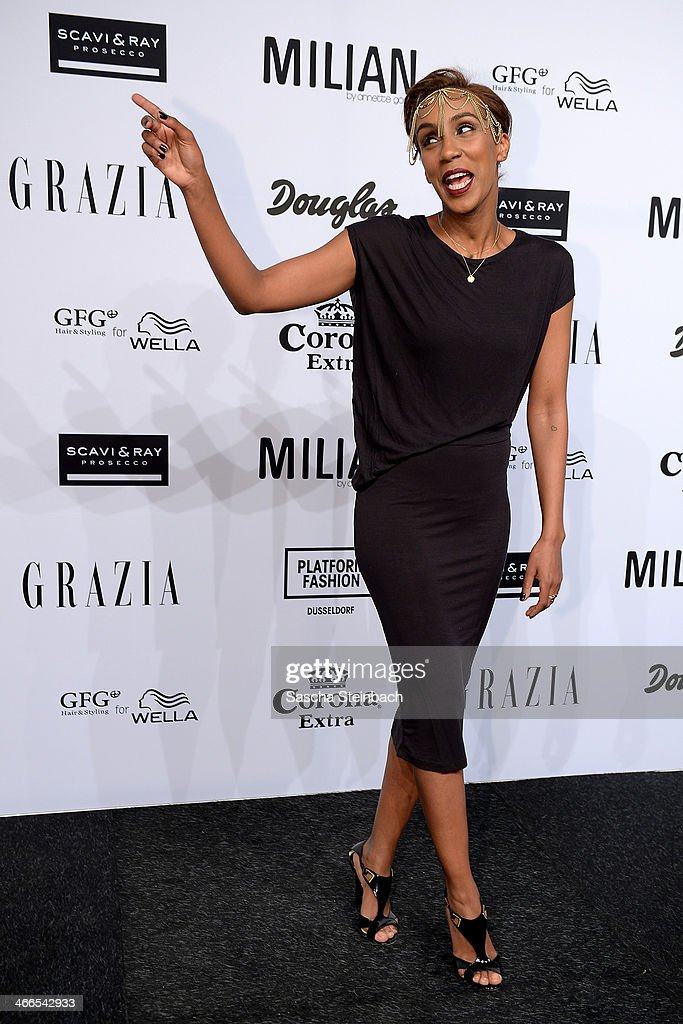 Hadnet Tesfai attends the Milian by Annette Goertz show during Platform Fashion Dusseldorf on February 1, 2014 in Dusseldorf, Germany.