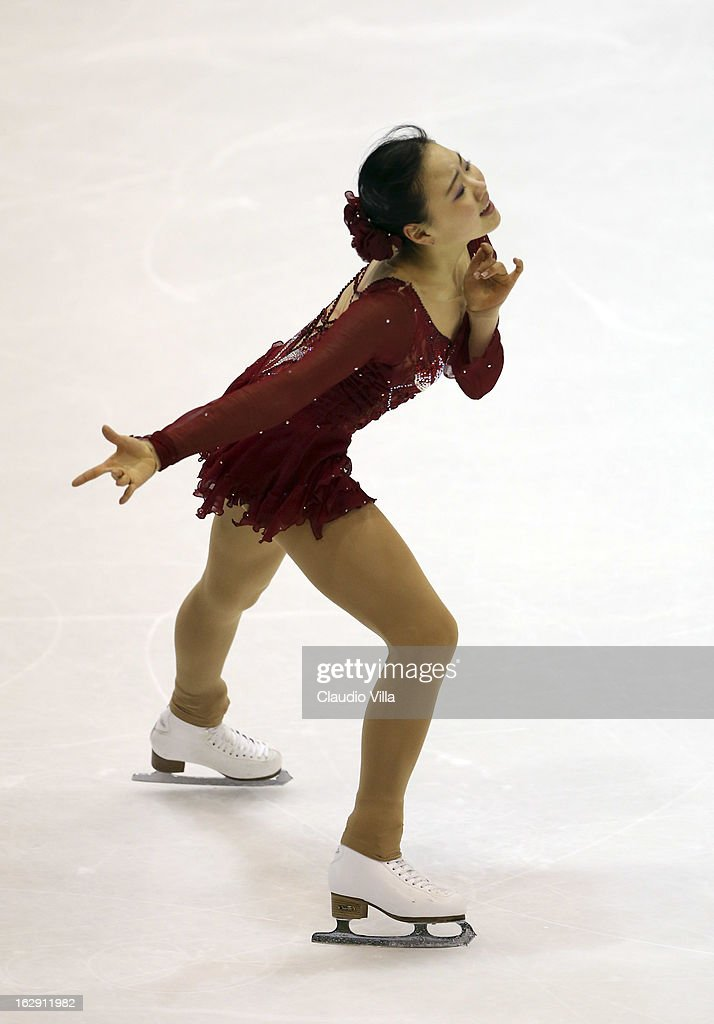 Hae Jin Kim of Korea skate in the Junior Ladies Short Program during day 5 of the ISU World Junior Figure Skating Championships at Agora Arena on March 01, 2013 in Milan, Italy.